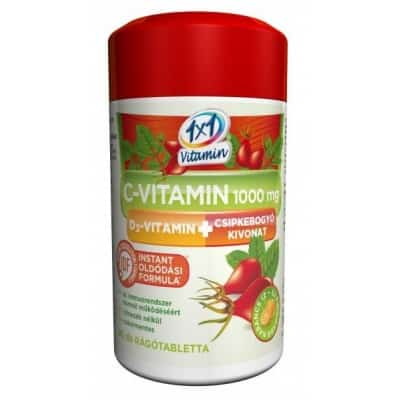 1x1 Vitamin C-vitamin 1000 mg + D3-vitamin csipkebogyó kivonattal narancsízű rágótabletta 60 db