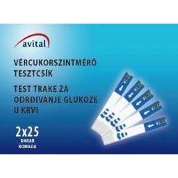 Avital vércukorszintmérő tesztcsík, 50 db