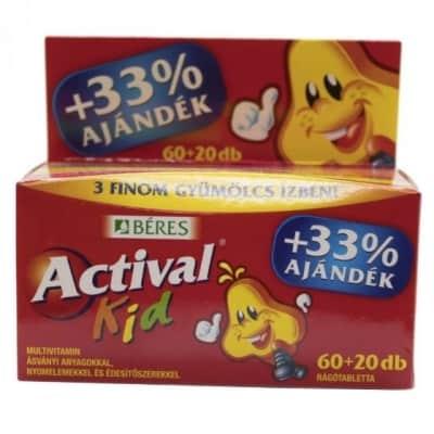 Béres actival kid rágótabletta 3 íz 60 + 20 db