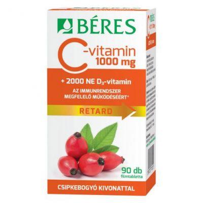 Béres C-vitamin 1000 mg Retard filmtabletta csipkebogyó kivonattal + 2000 NE D3-vitamin 90 db