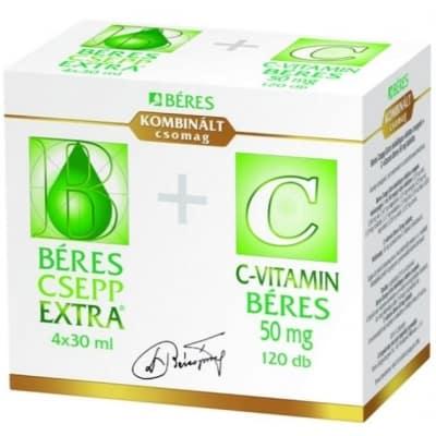 Béres csepp extra, 4 x 30 ml + C-vitamin 50 mg tabletta, 120 db
