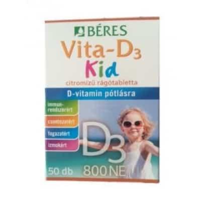 Béres vita-D3-vitamin kid 800 NE citromízű rágótabletta <br>50 db