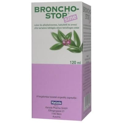 Bronchostop sine cukor és alkoholmentes, kakukkfű és orvosi ziliz tartalmú köhögés elleni belsőleges oldat 120 ml