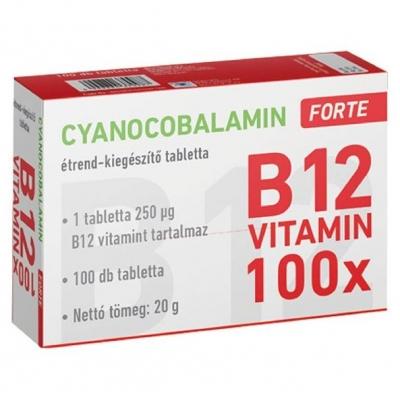 Cyanocobalamin Forte B12 vitamin tabletta 100 db
