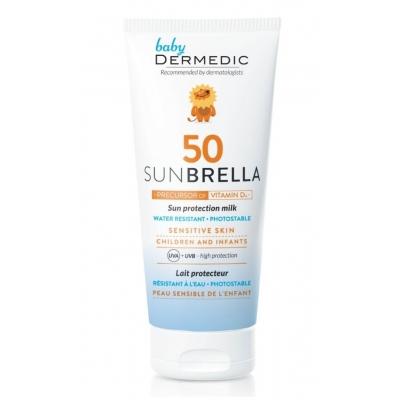 Dermedic Sunbrella Baby Napfényvédő tej gyermekeknek és babáknak már első hónapos kortól SPF 50 100 g