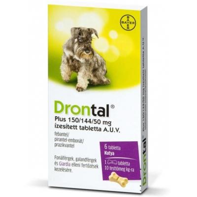 Drontal Plus ízesített féreghajtó tabletta kis testű kutyáknak 6 db