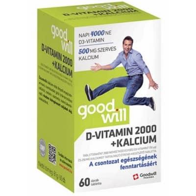 Goodwill D-vitamin 2000+kalcium tabletta 60 db