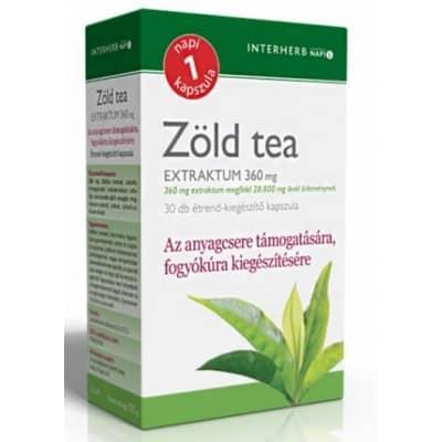 Interherb napi 1 zöld tea extraktum kapszula <br>30 db