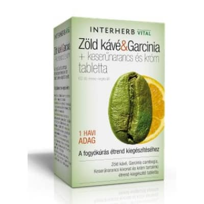 Interherb vital zöld kávé és garcinia + keserűnarancs és króm tabletta 60 db