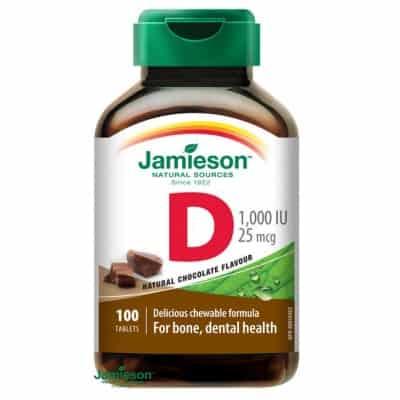 Jamieson D3-vitamin 1000 IU szopogató tabletta csokoládé ízű 100 db