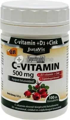 Jutavit C-vitamin 500 mg + D3 nyújtott felszívódású filmtabletta 100 db