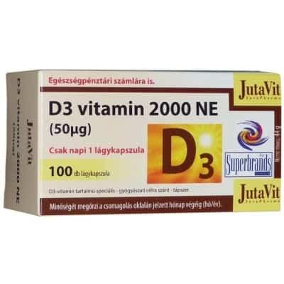 Jutavit D3-vitamin 2000 NE lágykapszula 100 db