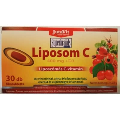 Jutavit liposom C 400mg +D3<br> liposzómás C-vitamin filmtabletta 30 db