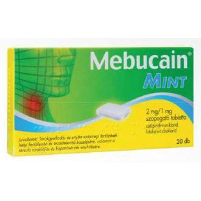 Mebucain mint 2 mg/1 mg szopogató tabletta 20 db