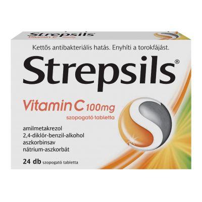 Strepsils vitamin C 100 mg torokfertőtlenítő szopogató tabletta 24 db